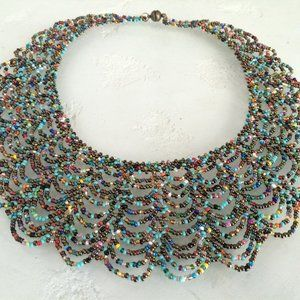 Beaded Scalloped TURQUOISE, MULTI-COLOR Necklace